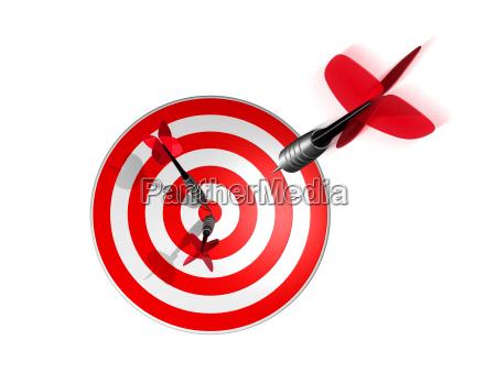 3d darts direkt auf dem zielzentrum
