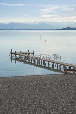 alpine landscape with dock
