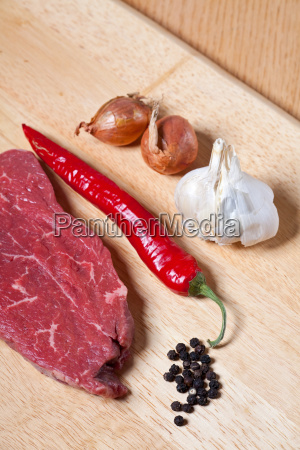 raw steak and ingredients