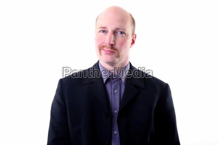 moustache happy smug businessman