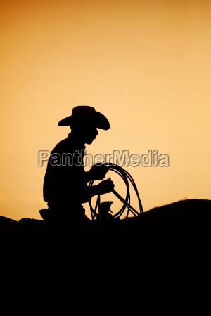 cowboy rodeo sonnenuntergang silhouette