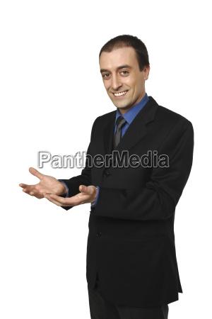 businessman open hands