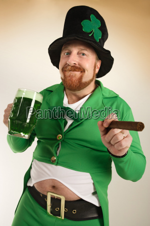 leprechaun drinking green beer