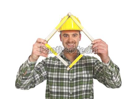 manaul arbeiter mit zaehlerwerkzeug