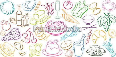 karte mit food symbolen