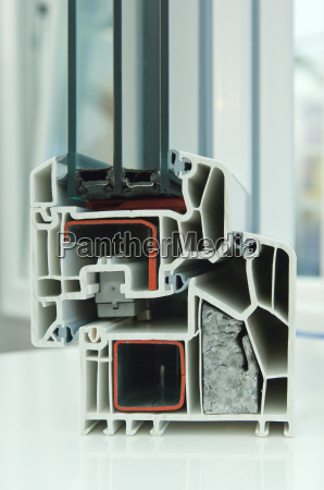 cutaway model of plastic window frames