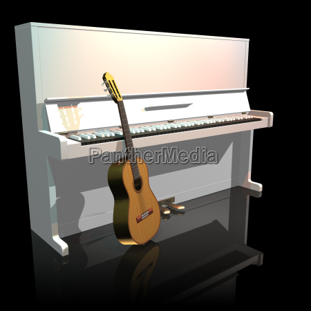 piano and guitar on a black