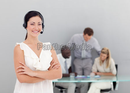 businesswoman talking on a headset with