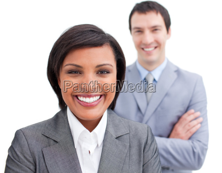 radiant businesswoman posing in front of
