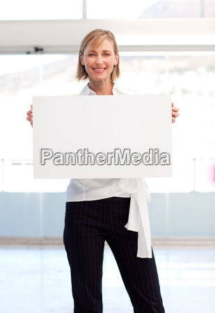 businesswoman showing her white card