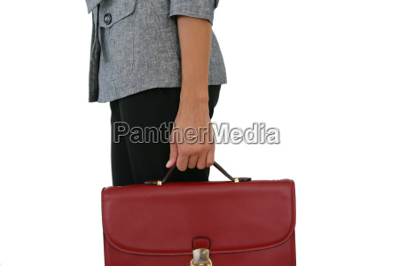 woman wearing a red bag on