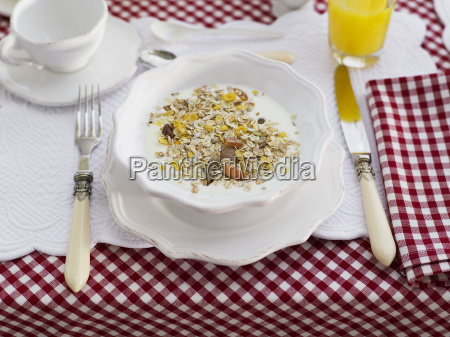 cereals in bowl on table close