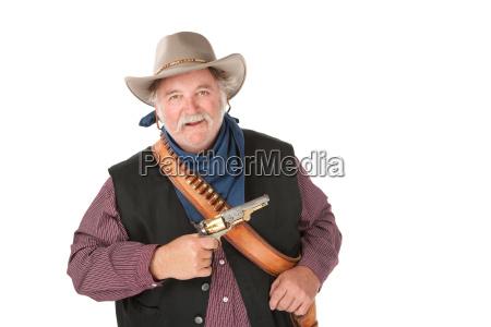 big starker cowboy mit pistole auf