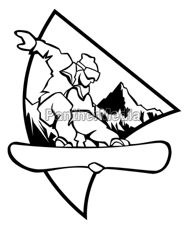 snowboard logo schwarzweiss