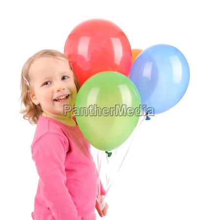 kind, mit, luftballons - 3119515