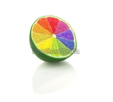limette halbiert mit farben regenbogen