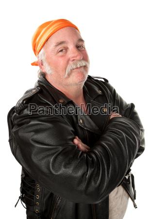 fettleibige bandenmitglied auf weissem hintergrund