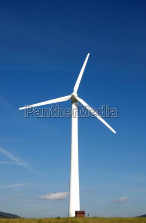 windkraftanlage mit einem kleinen haus