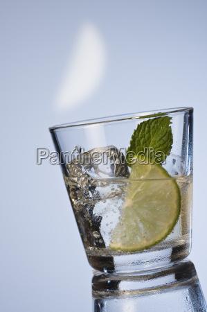mineralwasser mit minze und eiswuerfel
