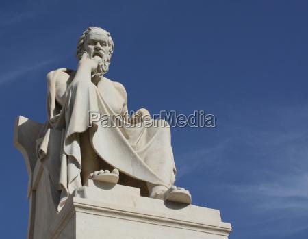 statue des sokrates mit kopie raum