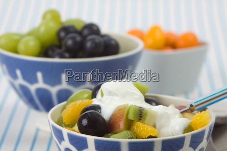 fruits with yogurt
