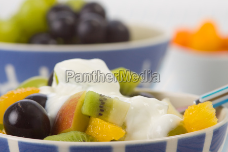 fruit with yogurt