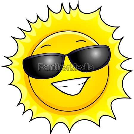 grinsende sonne mit sonnenbrille