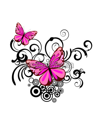 butterfly on floral background