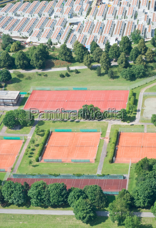 aerial view with tennis courts
