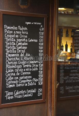 restaurant menu board in spanisch verfasst