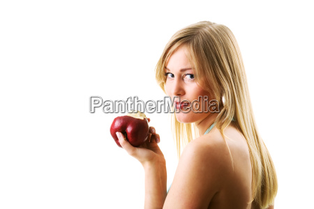 seductive woman with apple