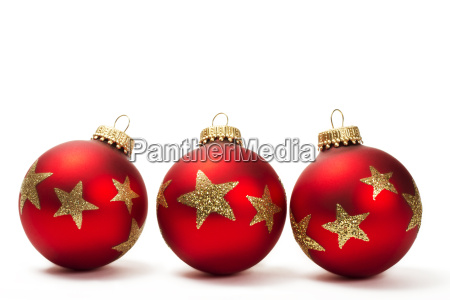 drei rote christbaumkugeln