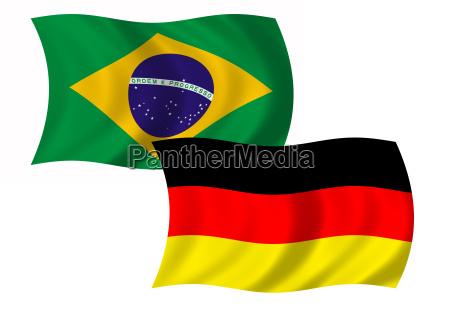 flagge brasilien und deutschland wehend