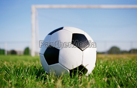 football on the field with goal