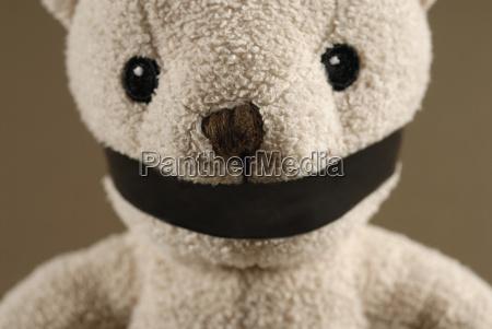 close-up, eines, geknebelten, teddybären - 3410637