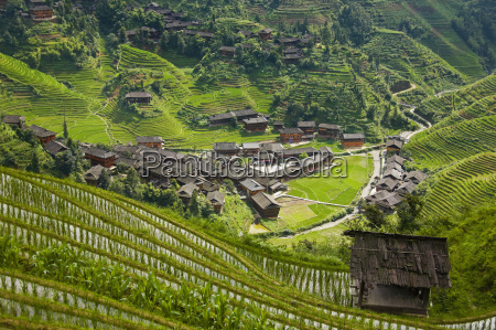 high angle view of a village