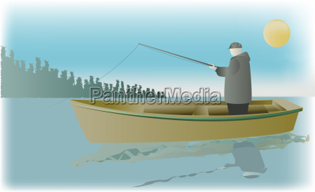 side profile of a man fishing