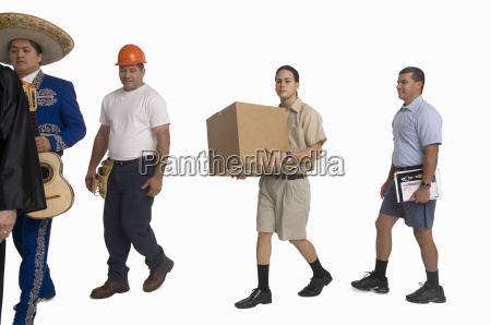 postmitarbeiter lieferarbeiter mariachi richter und bauarbeiter