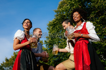 group of friends in beer garden