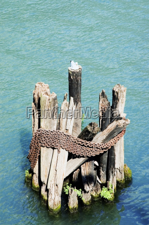 high angle view of wooden posts