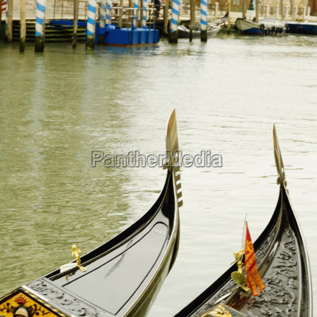 high angle view of two gondolas