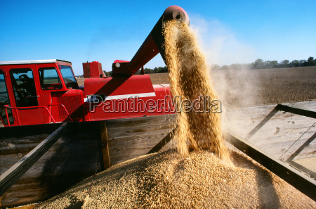 close up of a combine loading