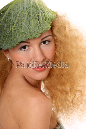 woman with savoy cabbage