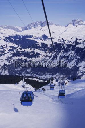 high angle view of ski lifts