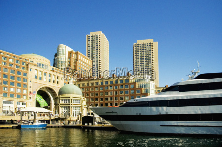 buildings at a waterfront rowes wharf