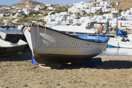 boat on the beach mykonos cyclades