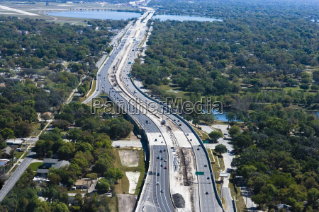 aerial view of multiple lane highways