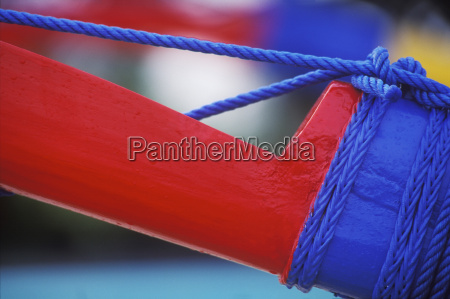 close up of a boat tied
