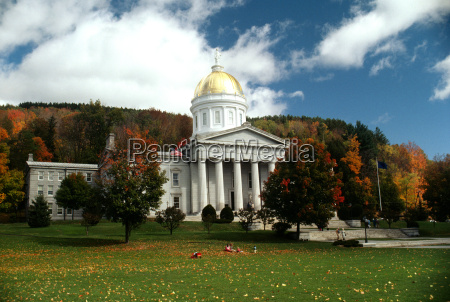 state capitol in the fall with
