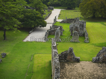 high angle view of old ruins